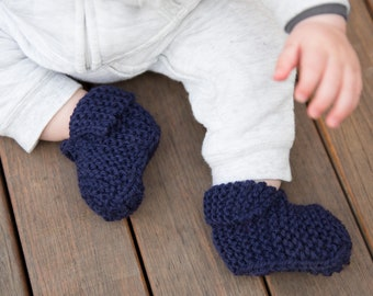 Knitted Baby Booties for Boys or Girls - Navy Knit Booties for Sizes 3 Months to 2 years - Hand Knitted Baby Slippers