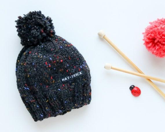 Dark Charcoal Baby Beanie with Pom Pom Pom Pom Baby Beanie Hat Baby Boy Beanie Knit Baby Hat