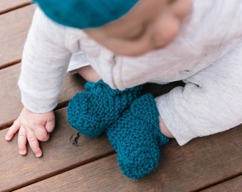 Knitted Baby Booties for Boys or Girls - Blue Wool Booties for Sizes 3 Months to 2 years - Hand Knitted Baby Slippers