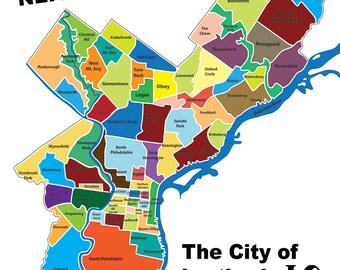 Philadelphia k Map Typography City of Brotherly | Etsy on