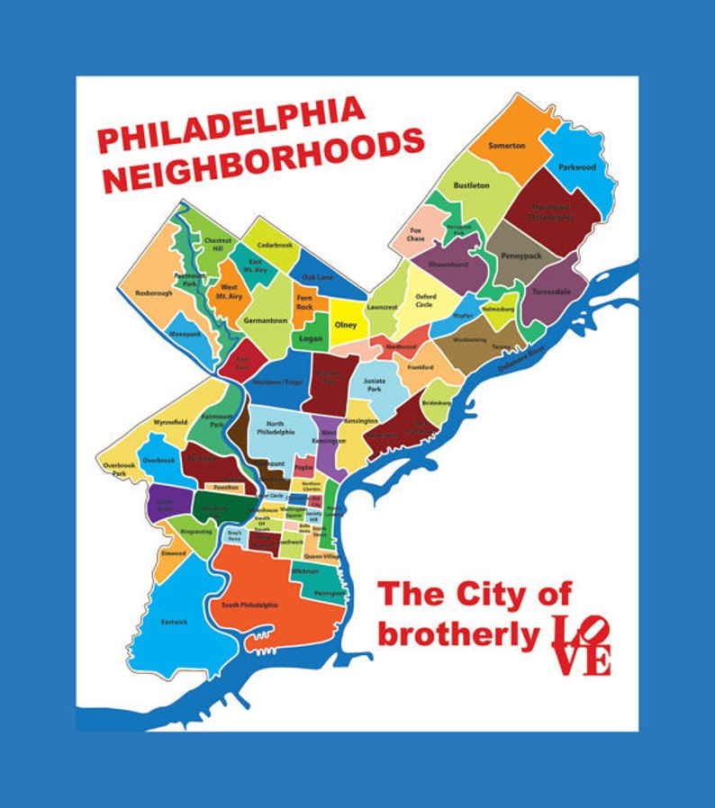 Philadelphia Neighborhoods Map Philadelphia k Map Typography City of Brotherly Love | Etsy