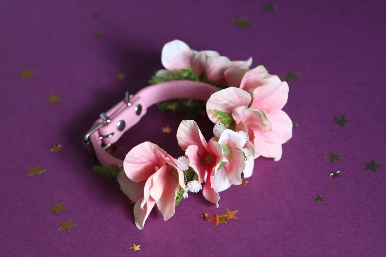 Pretty in Pink Floral Puppy Collar Dog Accessory Girl Small Flower Collar Peach Cat Collar Pink Floral Dog Collar Girl Collar