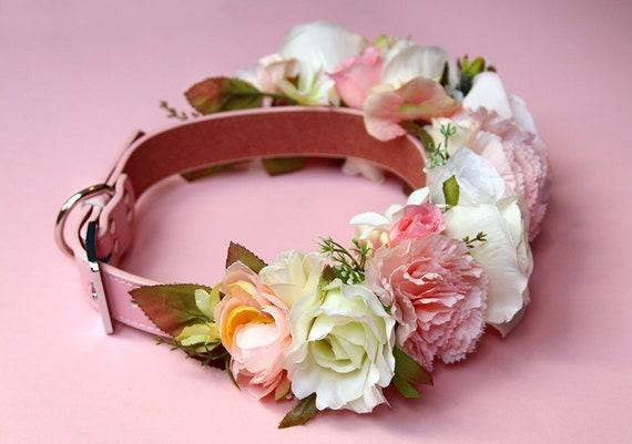 Elle Pink Leather Flower Dog Collar Peach Ivory Pink Etsy