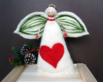 Christmas Angel Tree Topper - Needle Felted Angel - Big Christmas Tree Topper - Wool Fairy - Waldorf Inspired Felt Angel - Made to Order