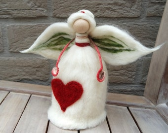 "Christmas Angel Tree Topper - Needle Felt Angel - Waldorf angel - 8"" Angel Tree Topper in X-mas Colors, Natural, Red, Green - Made to Order"