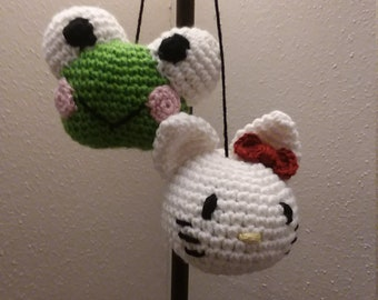 Amigurumi Pattern Only/ Hello Kitty & Keroppi Car-Balls/ Car Accessories/ Rearview Mirror Accessories/ Hello Kitty Car Dice