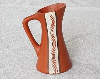 Delightful small ceramic vase by Sawa, 1950s West German Pottery, shape 306, made of klinker (red clay), Mid Century Keramik