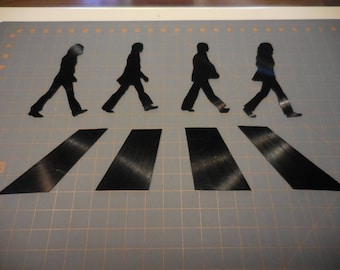 Beatles Handmade Abbey Road With Silhouettes For Wall Mounting