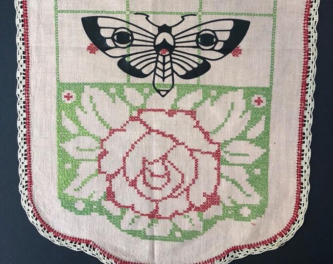Featured listing image: Midnight Moth Art Deco rose runner