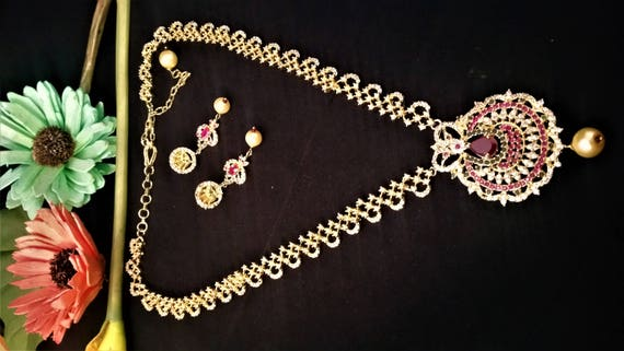 Bridal Ruby American Diamond Necklace Set With Pearl Drops Cz Etsy
