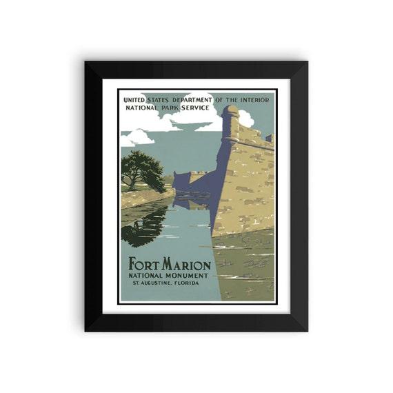 Vintage Parki Narodowe Plakat Pomnik W Fort Marion National Monument Plakat Druk W Ramce Plakat Na Florydzie Vintage Plakat Ft Marion