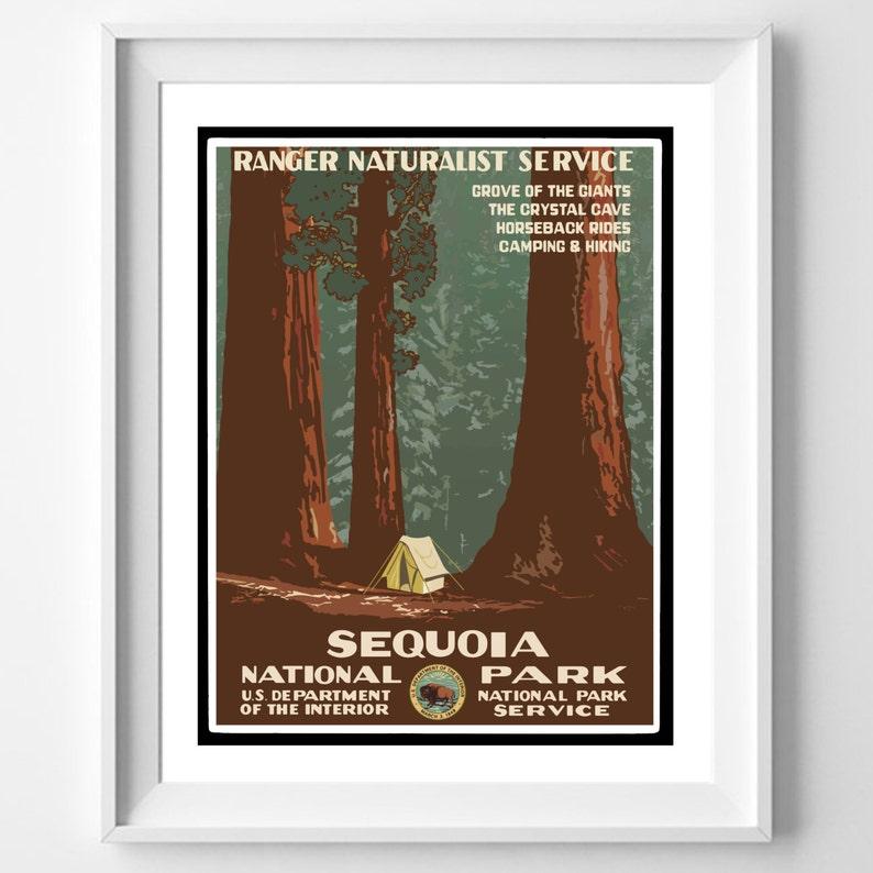 Vintage Parki Narodowe Plakat Sequoia Park Narodowy Plakat Vintage Plakaty Z Ramką Vintage Print Plakat Z Kalifornii California Park