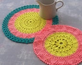 Two colourful vintage doilies, retro 80s crochet table mats, like new handmade crocheted cotton coasters, hand-knitted doily, tablecloths