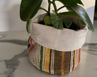 Cute Striped Hessian/ Burlap Pot Plant Holder