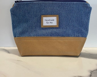 Denim and Leather Zippered Pouch Fathers Day Dads Gift