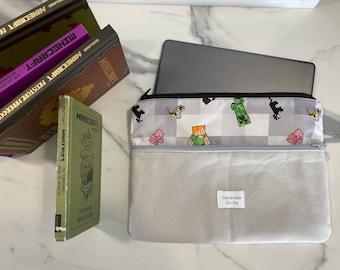 Grey Minecraft Tablet Case, iPad Wallet Cover Sleeve