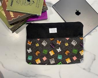 Black Minecraft Tablet Case Sleeve Holder Wallet