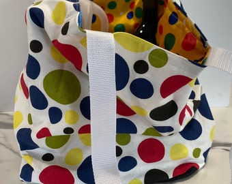Large Tote with Large Multi Coloured Spots