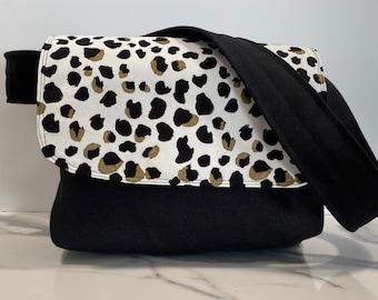 Leopard print in black and gold Messenger Bag, Satchel, Shoulder Bag