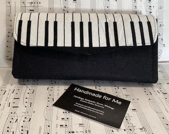 Piano Keyboard Print Large Purse