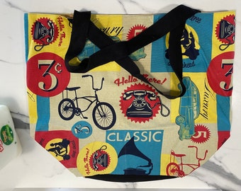 Large Tote Bag with Fifties Style Print