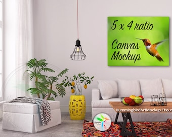 Download Free Stock Photo, Tropical, Canvas Print, Sofa, 5x4 Ratio, Artwork Styled Image, Art Display, Wall Art Mockup, Marketing, 4x5, 8x10, 16x20 PSD Template