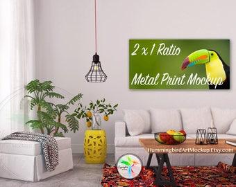 Download Free Styled Stock Photo, Wall Art Mockup, Metal Mockup, Panorama Ratio, Living Room, Art Display, Artwork Styled Image, 2:1, 2x1 PSD Template