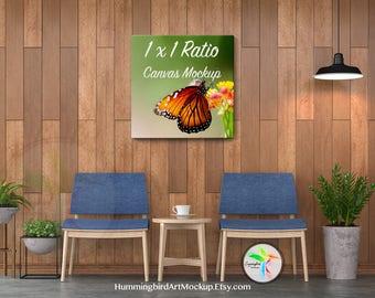 Download Free Canvas Print Mockup, Tropical Hallway, Square Ratio, Mock Up Template, Empty Canvas Print, Artwork Marketing Tool, 1:1, 10x10, 20x20, 30x30 PSD Template
