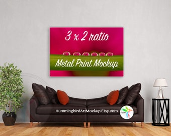 Download Free Mockup, Wall Art, Living Room, 2x3 Ratio, Artwork Styled Image, Interior Stock Photo, Art Display, Marketing, Metal Print Mock up, 4x6, 8x12 PSD Template