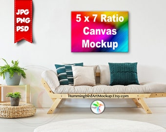 Download Free Mockup, Stock Photo, Canvas Print, Tropical, 5x7 Ratio, Artwork Styled Image, Living Room, Art Display, Wall Art Mockup, Marketing, 7x5 PSD Template