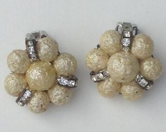 vintage bead and rhinestone earrings, retro earrings