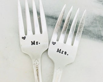 Stamped Forks Mr Mrs Fork Wedding Silverware Something Old Engagement Wedding Gift Guild Silver Plate Vintage Stamped Dinner Fork with Heart