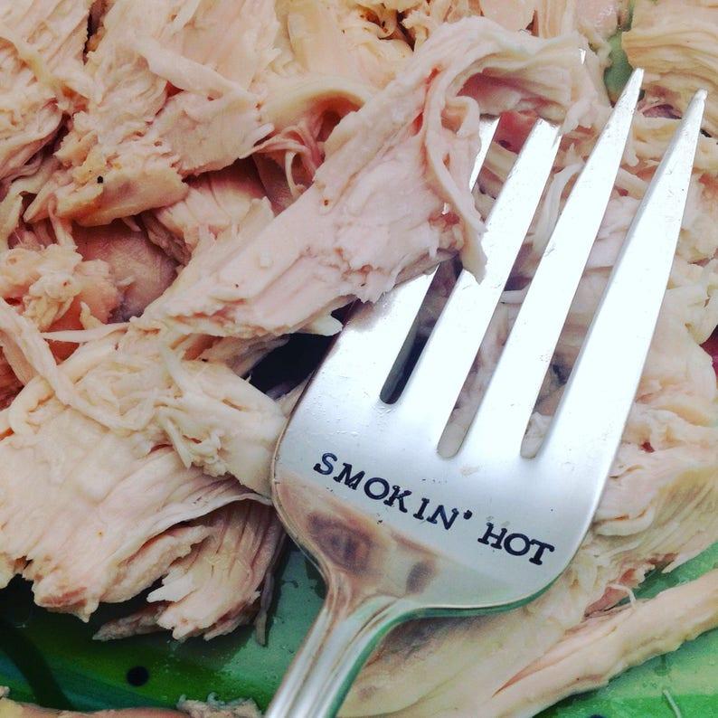 hostess gift Thanksgiving fork Handstamped vintage meat and serving fork
