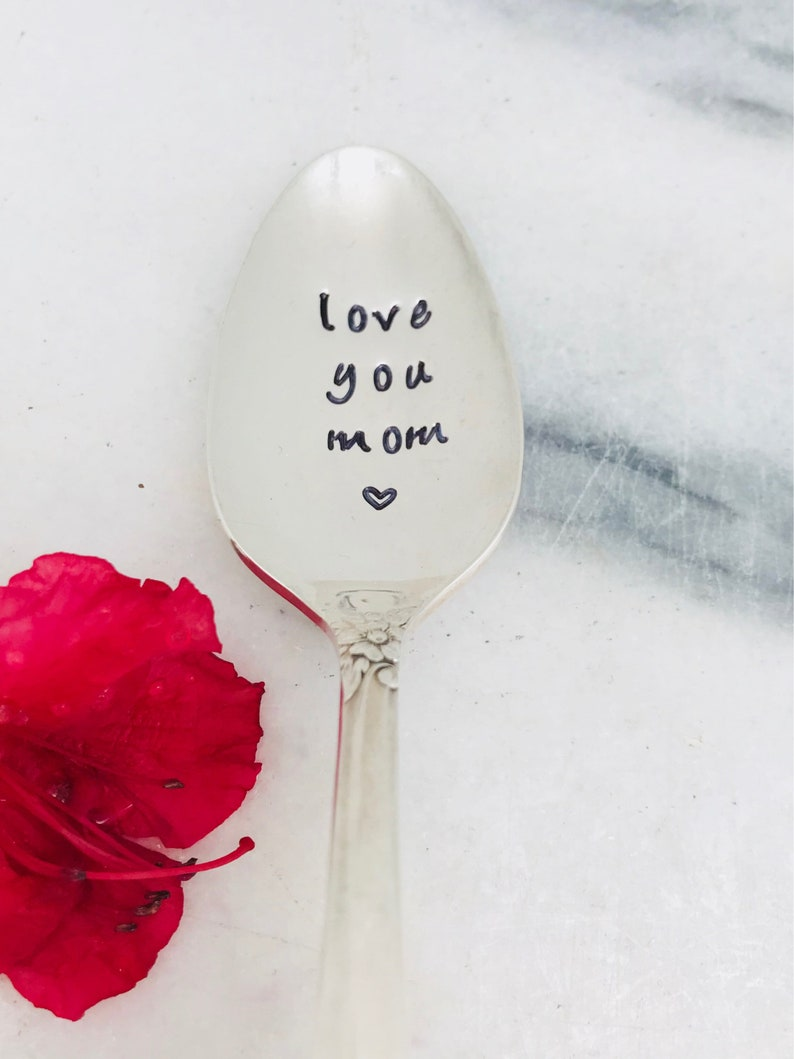 Mothers Day stamped spoon gift for mom handstamped vintage spoon love you mom