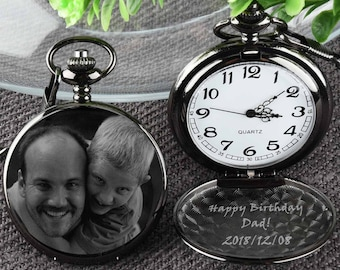 ced1aff94 Birthday Gift Pocket Watch Engraved photo Anniversary Personalized Gift  Custom Pocket Watch -Christmas holiday gift for Dad/ him/ husband