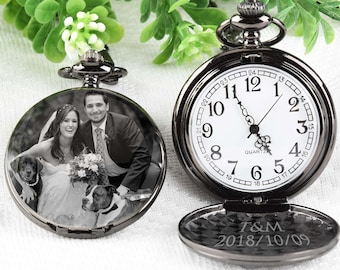 3003cde59792b Pocket Watch Engraved photo Anniversary Personalized Gift Custom Pocket  Watch -Birthday Gift Christmas Wedding Gift holiday gift for him