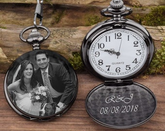f6cb524ebe829 Pocket Watch Engraved photo Anniversary Personalized Gift Custom Pocket  Watch -Birthday Gift Wedding groomsmen gift for him
