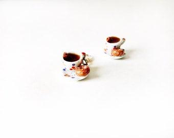 Hot Cider and Cider Donut Miniature Food Jewelry Progress Keeper Project Bag Charm Knitting, bracelet charm