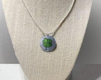 Lucky Clover Necklace - Coin Hand Crafted Necklace Four Leaf Clover
