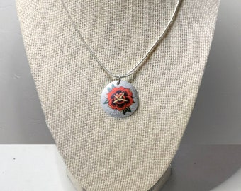 Sailor's Rose Necklace - Coin Hand Crafted Necklace American Traditional Tattoo