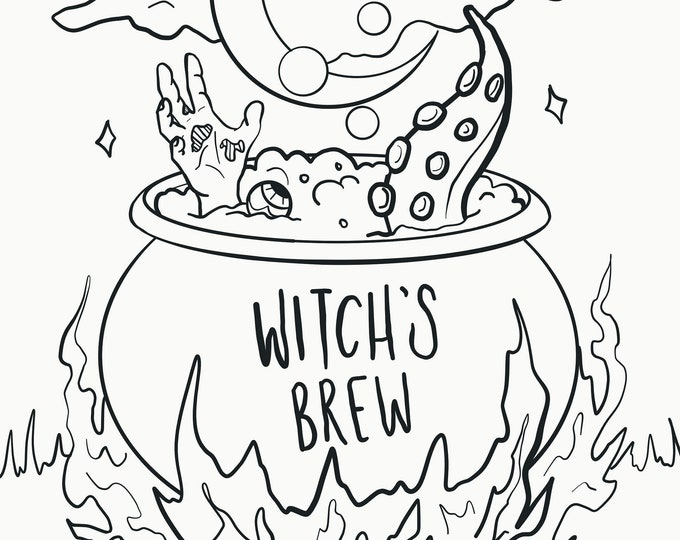 Witch's Brew - Halloween Coloring Page - Digital Download