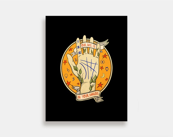 Fate - Illustration Art Print American Neo Traditional Tattoo Palm Reader Psychic Witch