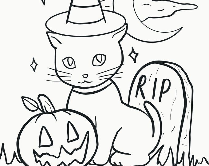 Lucky Cat - Halloween Coloring Page - Digital Download