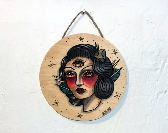 Circular Wood Hanging Plaque - Third Eye - One of a Kind