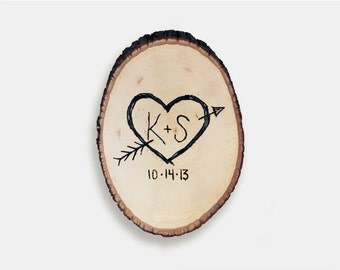 Customizable Wood Burnt Slab - Initials - Hand Crafted Wood Decor