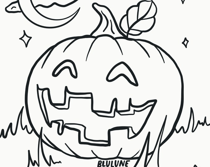 Happy Jackolantern - Halloween Coloring Page - Digital Download