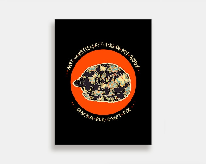 Purr - Illustration Art Print American Neo Traditional Tattoo Fur Baby Cats