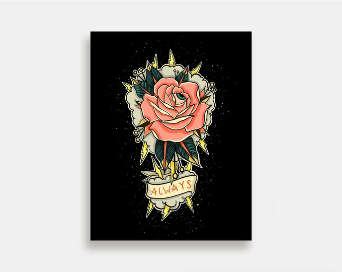Always - Illustration Art Print American Neo Traditional Tattoo Rose