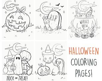Halloween Coloring Page Bundle - Digital Download
