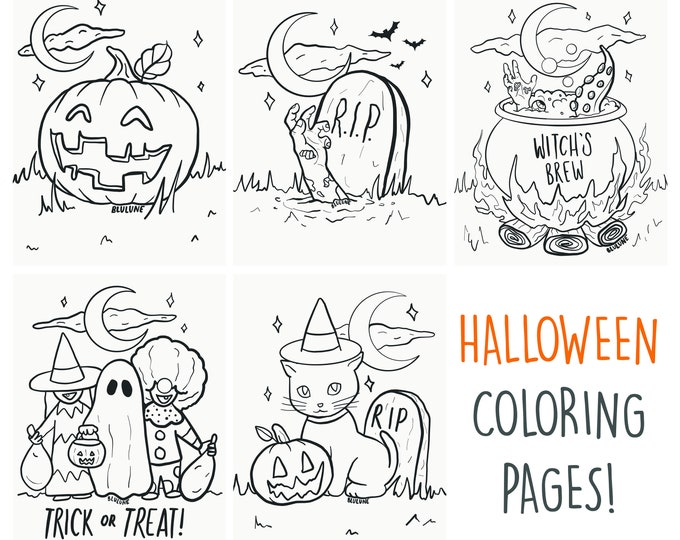 Halloween Coloring Page Bundle - Digital Download